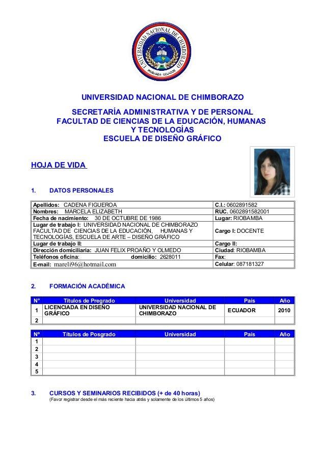 UNIVERSIDAD NACIONAL DE CHIMBORAZOSECRETARÍA ADMINISTRATIVA Y DE PERSONALFACULTAD DE CIENCIAS DE LA EDUCACIÓN, HUMANASY TE...