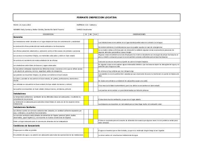 FORMATO INSPECCION LOCATIVAFECHA : 21-marzo-2013                                                                     EMPRE...