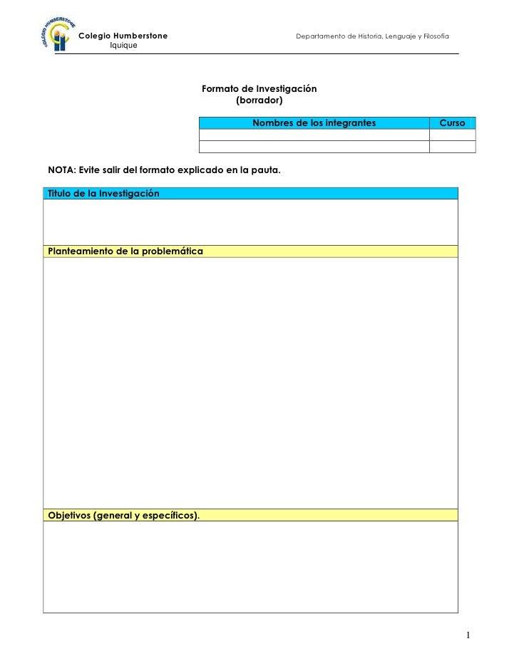 Formato de Investigación<br />(borrador)<br />Nombres de los integrantesCurso<br />NOTA: Evite salir del formato explicado...