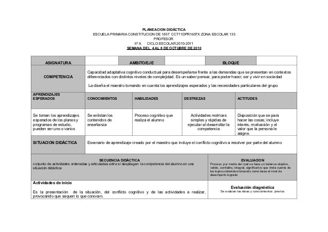 PLANEACION DIDÁCTICA                                     ESCUELA PRIMARIA CONSTITUCION DE 1857 CCT11DPR1607X ZONA ESCOLAR ...