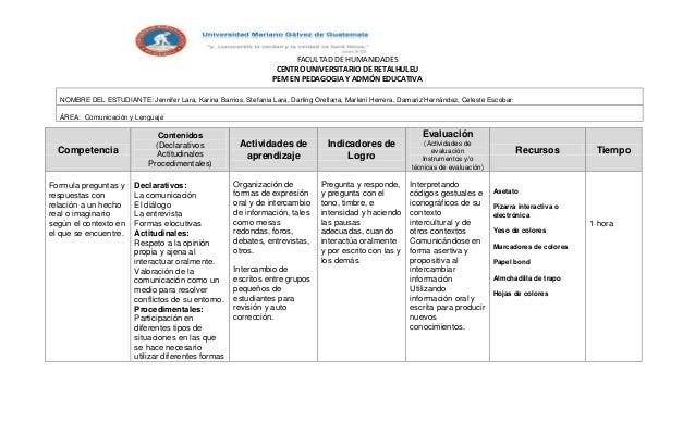 FACULTAD DE HUMANIDADES CENTRO UNIVERSITARIO DE RETALHULEU PEM EN PEDAGOGIA Y ADMÓN EDUCATIVA NOMBRE DEL ESTUDIANTE: Jenni...