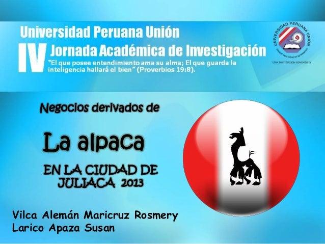 IV Jornada académica de investigación derivados de la alpaca