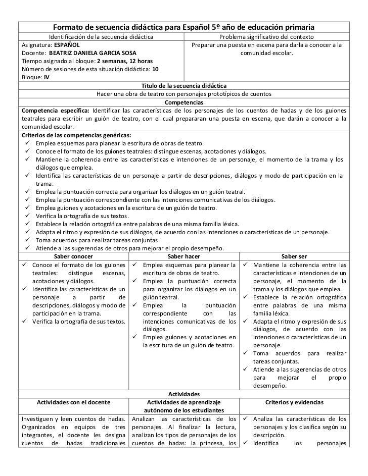 Formato de secuencia didáctica para Español 5º año de educación primaria           Identificación de la secuencia didáctic...