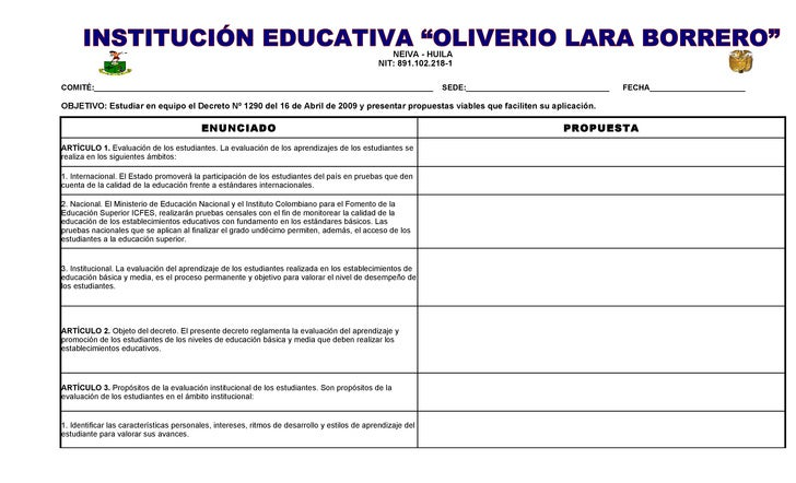 Formato De SocializacióN Docentes Estudio Decreto 1290 Abril 16 De 2009