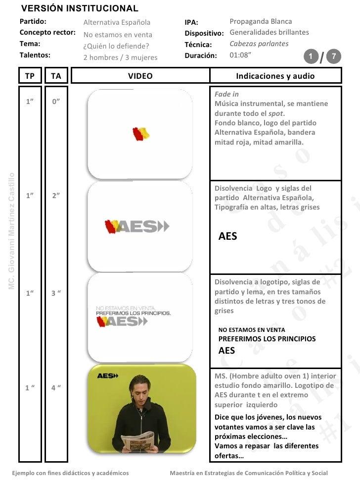 Formato de Storyboard del spot Alternativa EspañOla