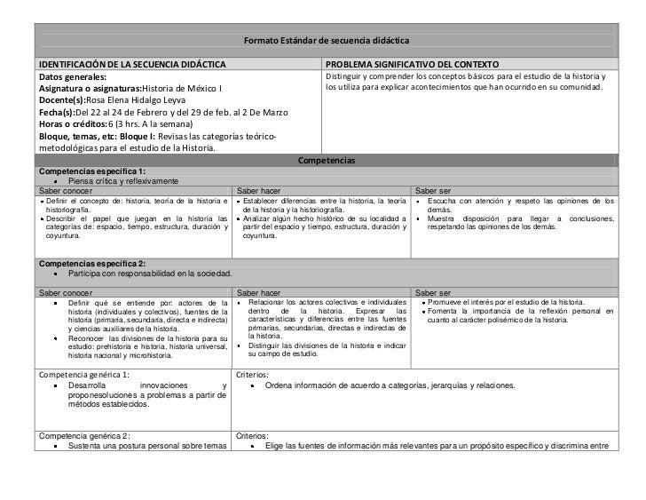 Formato Estándar de secuencia didácticaIDENTIFICACIÓN DE LA SECUENCIA DIDÁCTICA                                           ...