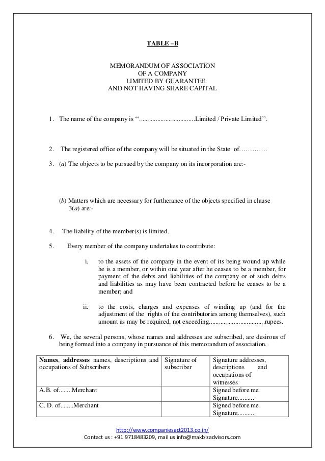 how to write memorandum of association