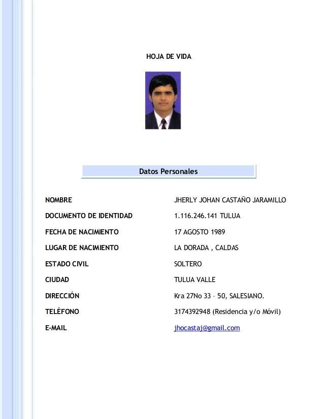 HOJA DE VIDA NOMBRE DOCUMENTO DE IDENTIDAD FECHA DE NACIMIENTO LUGAR DE NACIMIENTO ESTADO CIVIL CIUDAD DIRECCIÓN TELÉFONO ...