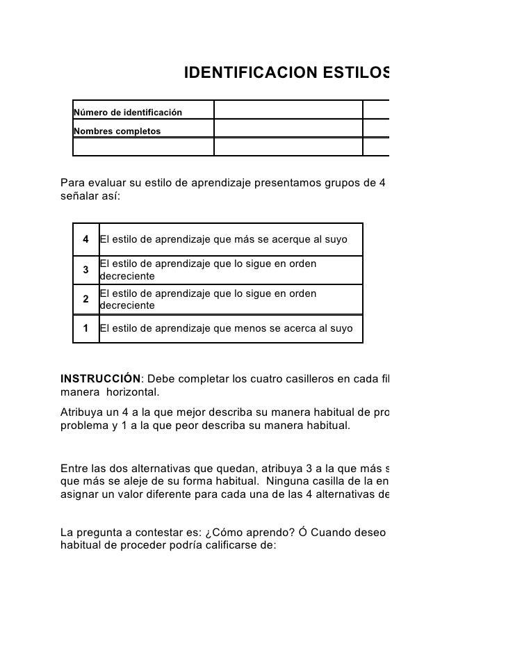 IDENTIFICACION ESTILOS DE APRENDIZ    Número de identificación                                     Programa de formación  ...
