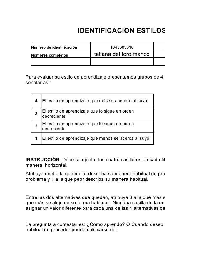 IDENTIFICACION ESTILOS DE APRENDIZ  Número de identificación                1045683810           Programa de formación  No...