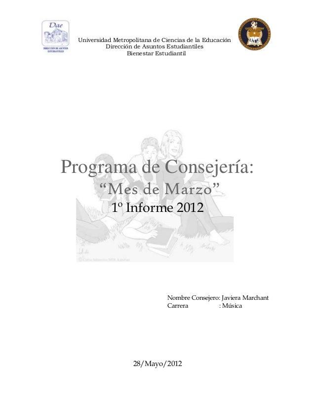 Universidad Metropolitana de Ciencias de la Educación           Dirección de Asuntos Estudiantiles                   Biene...