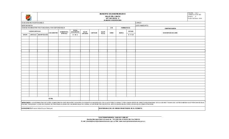 formato de informe de inventario