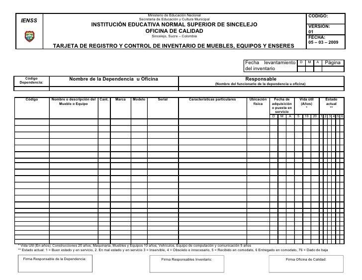 Formato inventarios ienss 2009 for Nacional de muebles para oficina y comercio