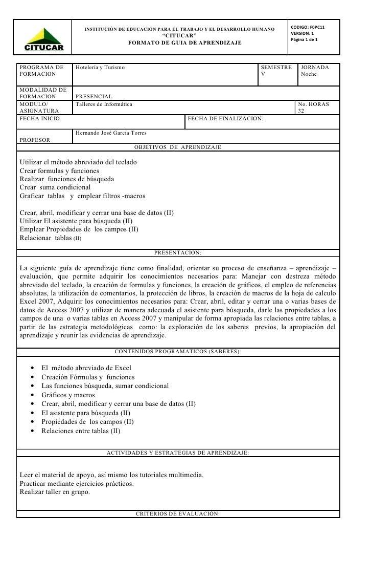 INSTITUCIÓN DE EDUCACIÓN PARA EL TRABAJO Y EL DESARROLLO HUMANO        CODIGO: F0PC11                                     ...