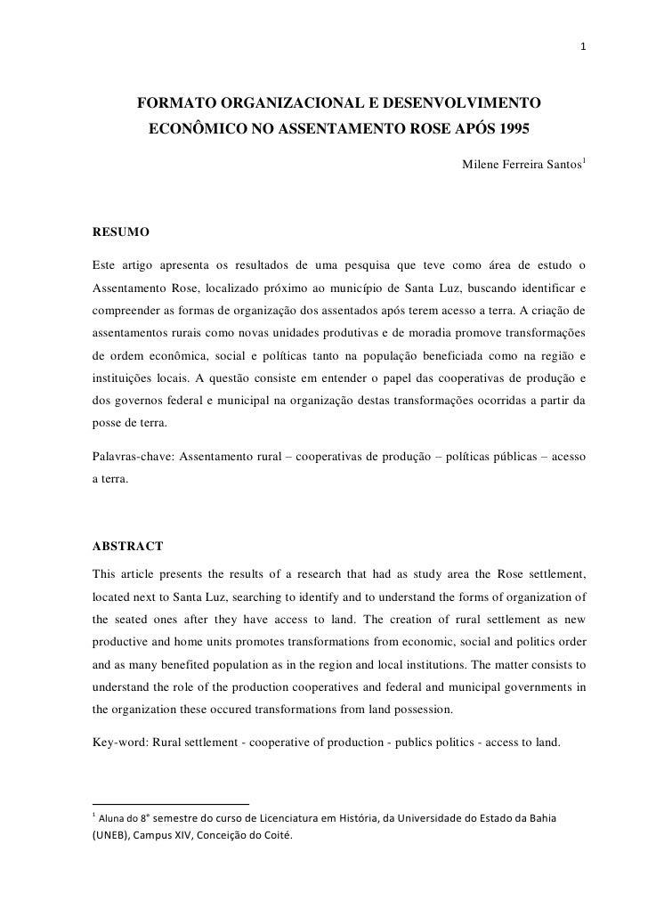 Formato organizacional e desenvolvimento econômico no assentamento rose após 1995