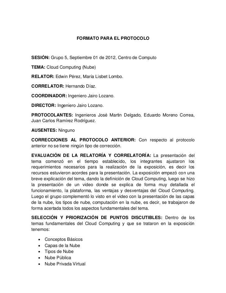 Formato para el protocolo for Ejemplo protocolo autocontrol piscinas