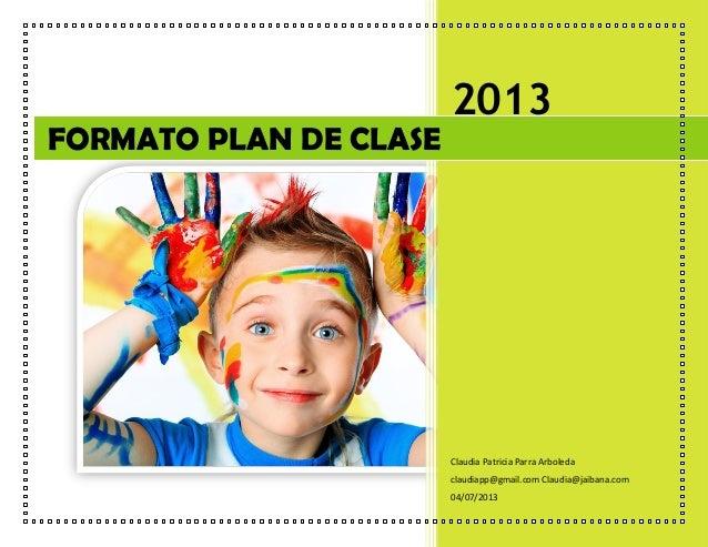 Formato plan de clase por claudia parra