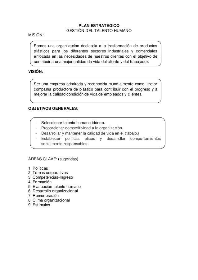 Formato plan estratégico gestion del talento humano