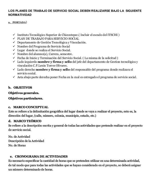 Formato plan se trabajo servicio social for Servicio de empleo
