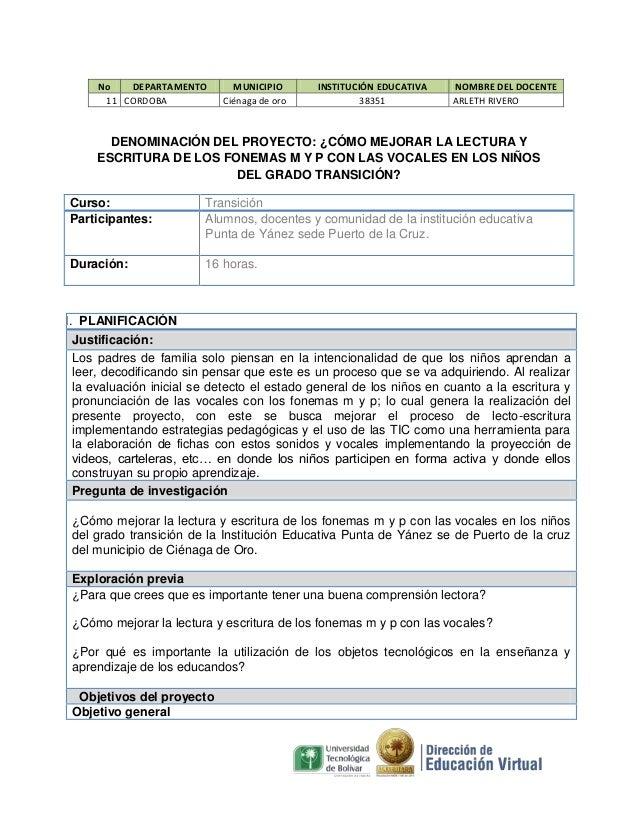 No DEPARTAMENTO 11 CORDOBA  MUNICIPIO Ciénaga de oro  INSTITUCIÓN EDUCATIVA 38351  NOMBRE DEL DOCENTE ARLETH RIVERO  DENOM...