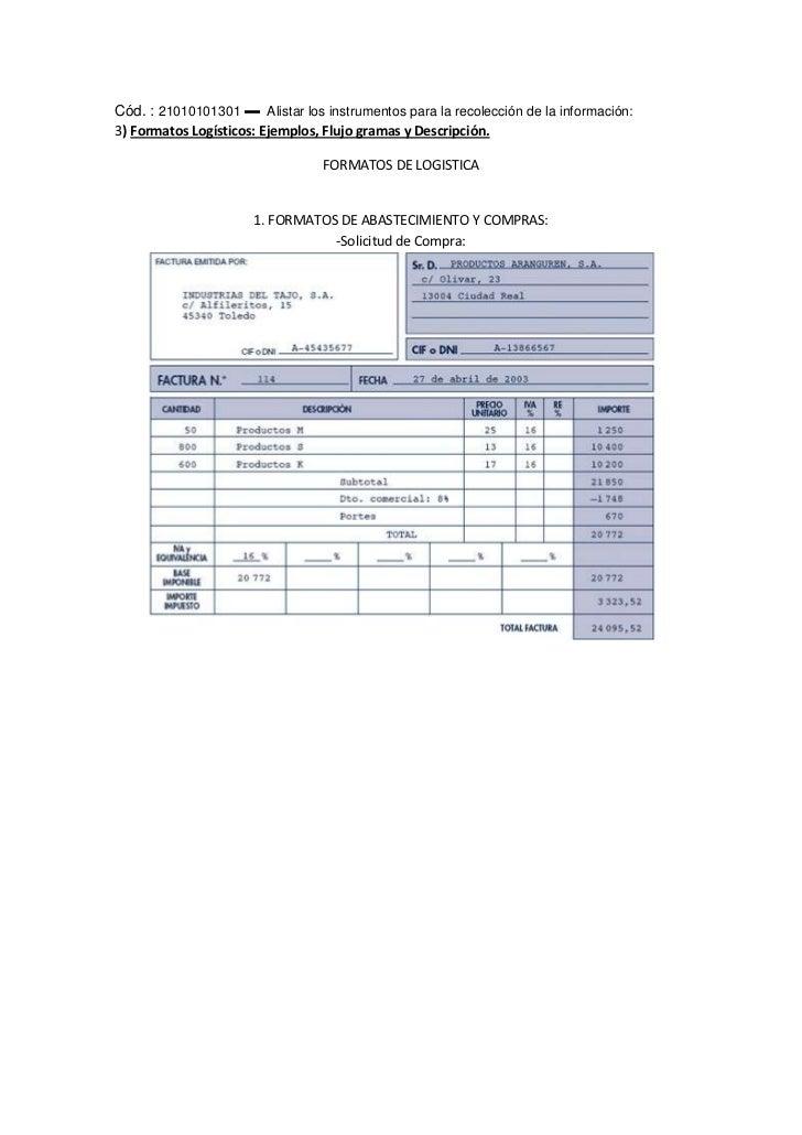 Cód. : 21010101301 ▬  Alistar los instrumentos para la recolección de la información:3) Formatos Logísticos: Ejemplos, Flu...
