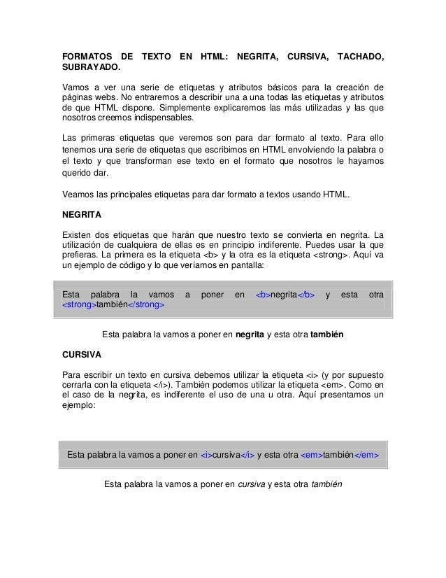 Formatos de texto html