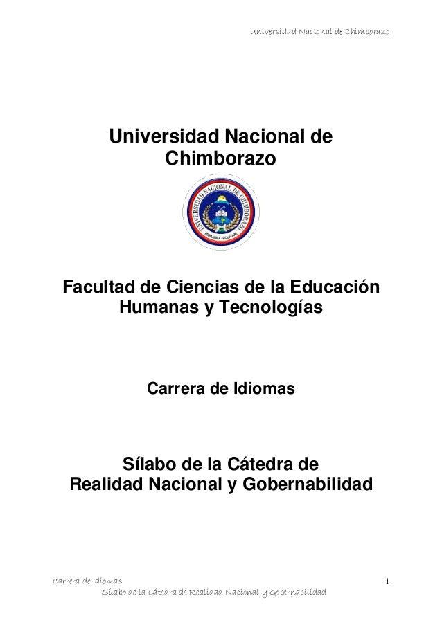 Universidad Nacional de Chimborazo Carrera de Idiomas Sílabo de la Cátedra de Realidad Nacional y Gobernabilidad 1 Univers...