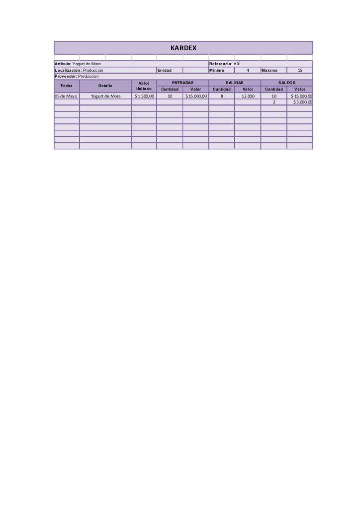 KARDEX  Artículo: Yogurt de Mora                                                   Referencia: A01 Localización: Produccio...