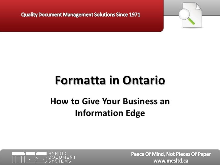 Formatta in Ontario - MES Hybrid