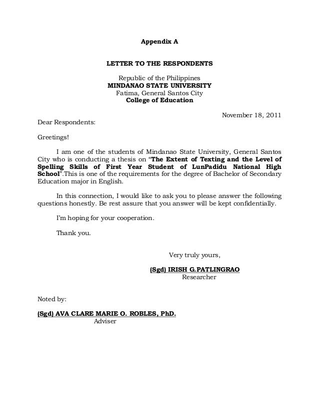 Letter For Conducting Thesis
