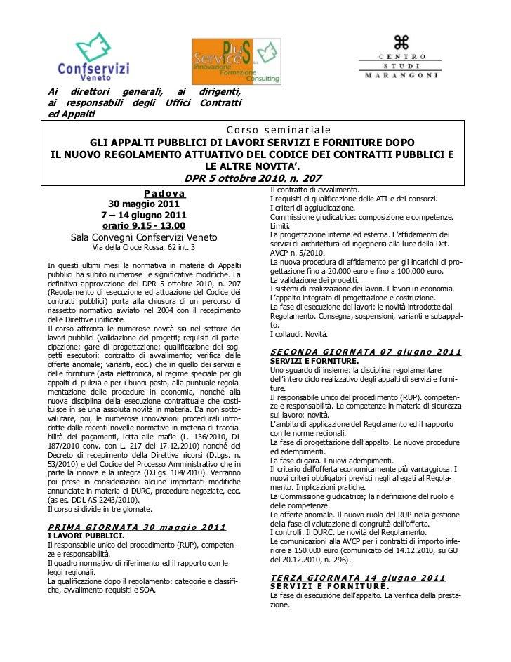 FORMAZIONE appalti pubblici di lavori servizi e forniture DPR 5 ottobre 2010 n. 207