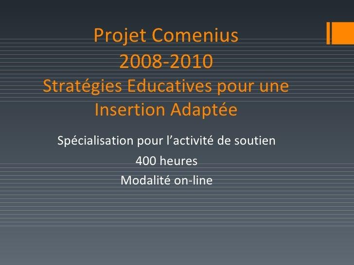 Projet Comenius 2008-2010 Stratégies Educatives pour une Insertion Adaptée <ul><li>Spécialisation pour l'activité de souti...