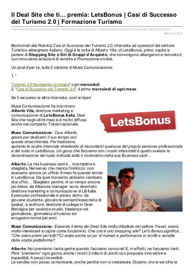Il Deal Site che ti… premia: LetsBonus | Casi di Successo del Turismo 2.0