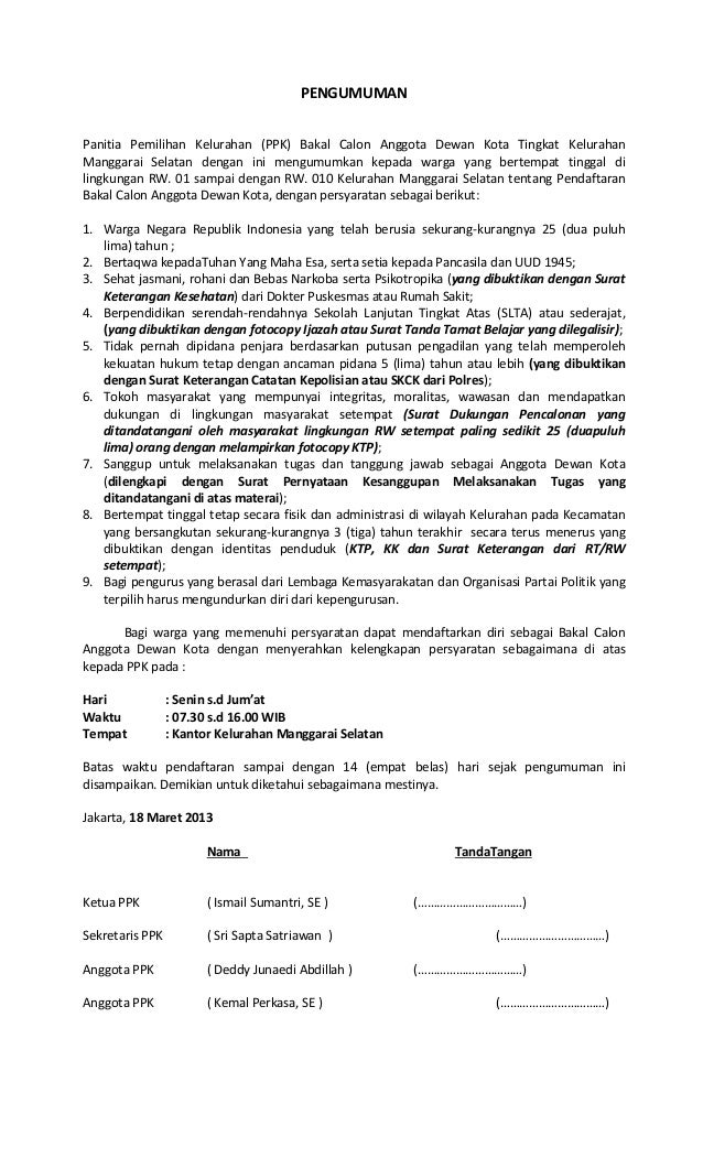 PENGUMUMANPanitia Pemilihan Kelurahan (PPK) Bakal Calon Anggota Dewan Kota Tingkat KelurahanManggarai Selatan dengan ini m...