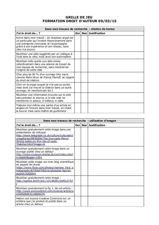 GRILLE DE JEU FORMATION DROIT D'AUTEUR 09/03/15 Dans mes travaux de recherche : citation de textes J'ai le droit de... ? O...