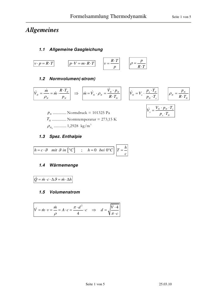 Formelsammlung Thermodynamik                                                Seite 1 von 5   Allgemeines      1.1       All...
