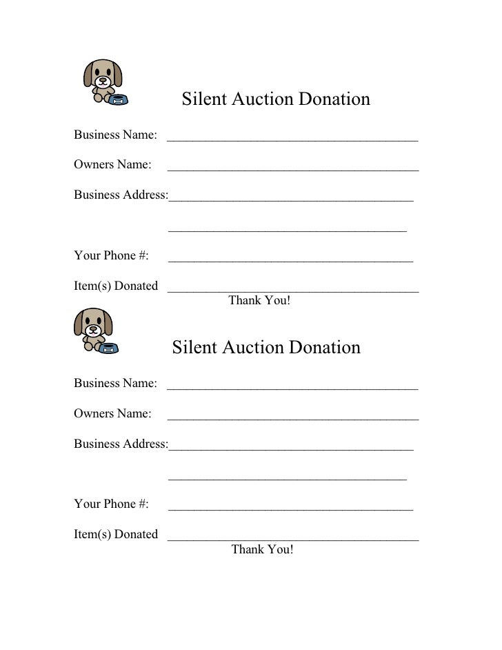 Form for 2009 silent auction donation for Silent auction program template