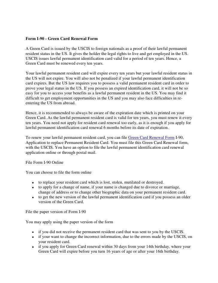 Form i 90 - green card renewal form