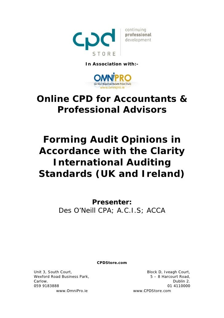 Forming Audit Opinions