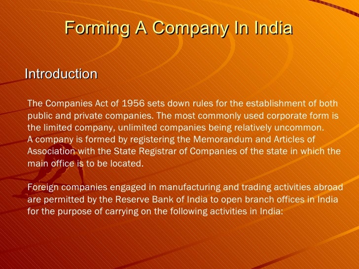 Forming A Company In India