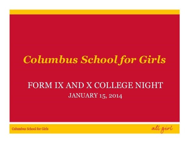 Form IX & X Parent Night 2014