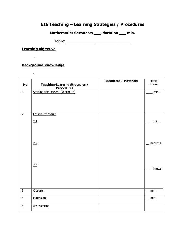 Form of eis  lesson procedure