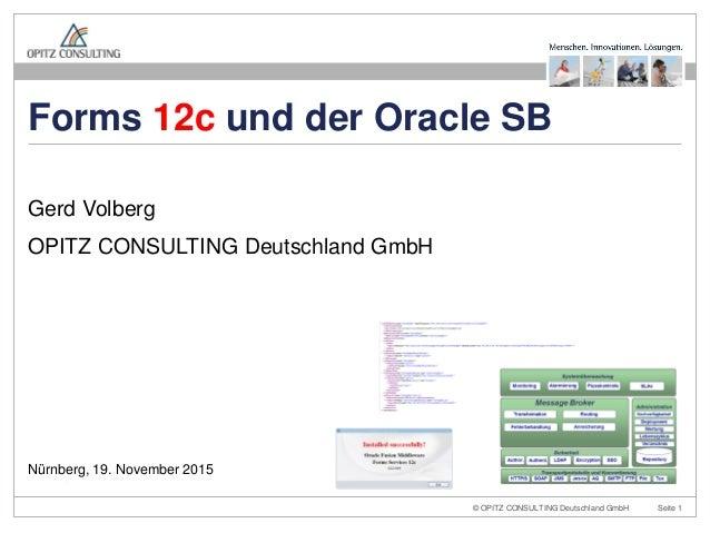 © OPITZ CONSULTING Deutschland GmbH Seite 1 Gerd Volberg OPITZ CONSULTING Deutschland GmbH Nürnberg, 19. November 2015 For...