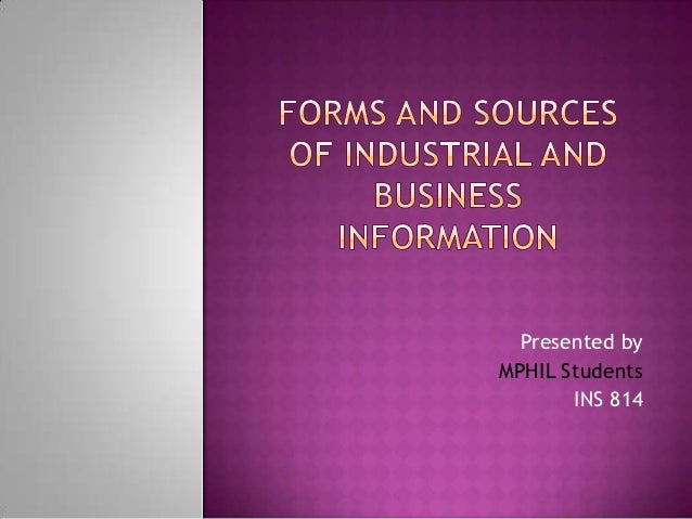 Forms and sources of industrial and business information