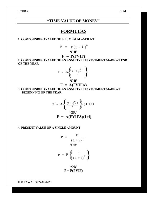 Formula TVM and Bond valuation