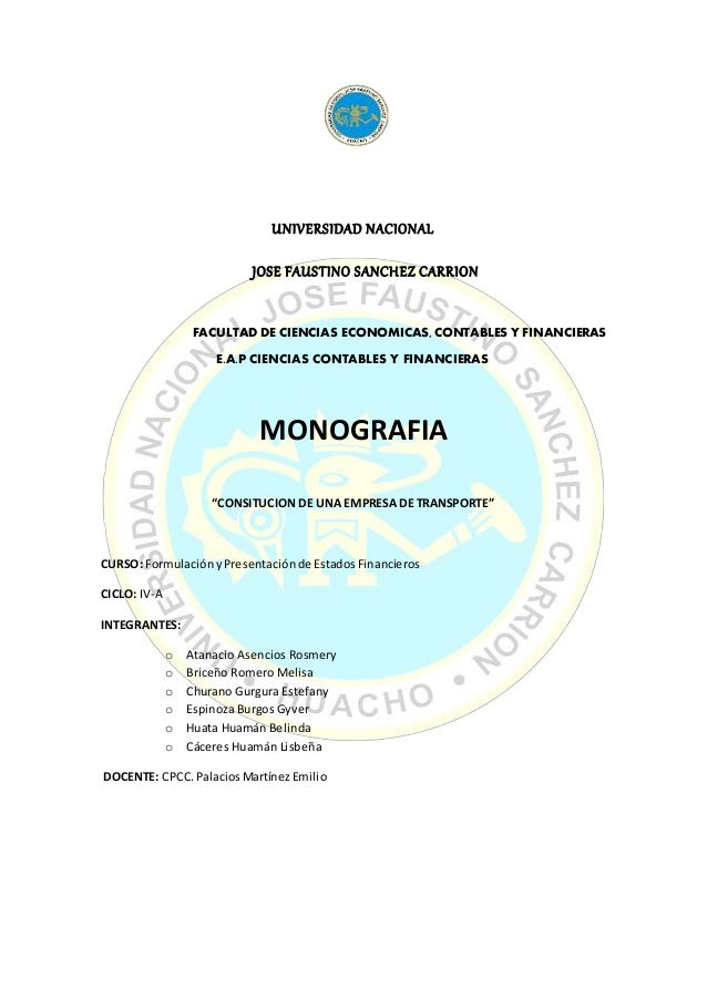 UNIVERSIDAD NACIONAL JOSE FAUSTINO SANCHEZ CARRION FACULTAD DE CIENCIAS ECONOMICAS, CONTABLES Y FINANCIERAS E.A.P CIENCIAS...