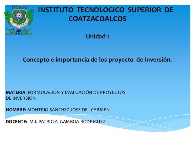 INSTITUTO TECNOLOGICO SUPERIOR DE                    COATZACOALCOS                               Unidad 1      Concepto e ...
