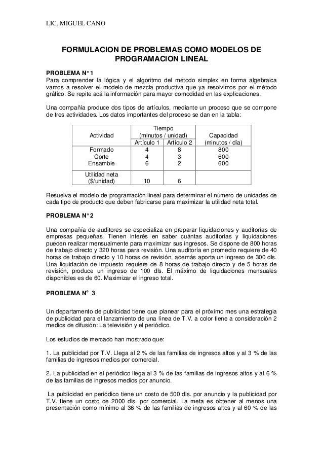 LIC. MIGUEL CANO  FORMULACION DE PROBLEMAS COMO MODELOS DE PROGRAMACION LINEAL  PROBLEMA N° 1  Para comprender la lógica y...