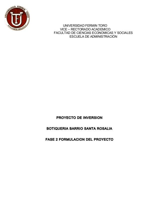 UNIVERSIDAD FERMIN TORO VICE – RECTORADO ACADEMICO FACULTAD DE CIENCIAS ECONOMICAS Y SOCIALES ESCUELA DE ADMINISTRACIÓN PR...