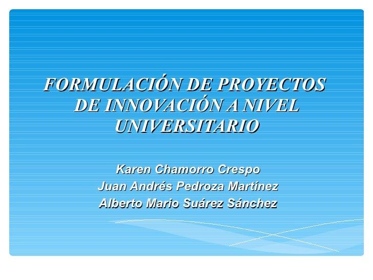 FORMULACIÓN DE PROYECTOS  DE INNOVACIÓN A NIVEL UNIVERSITARIO Karen Chamorro Crespo Juan Andrés Pedroza Martínez Alberto M...